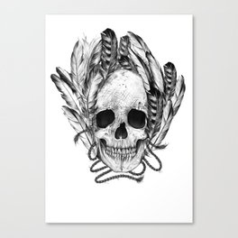 SKULL FEATHER Canvas Print