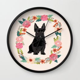 scottie dog breed floral wreath pet portrait dog gifts Wall Clock