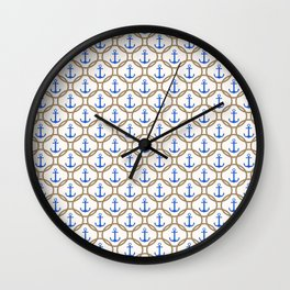Seamless nautical pattern with blue anchors and rope on white background Wall Clock