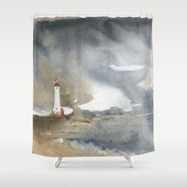Storm over Crisp Point Lighthouse Shower Curtain