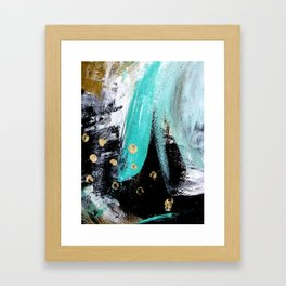 Fairy Dreams: an abstract mixed media piece in black, white, teal, and gold Framed Art Print