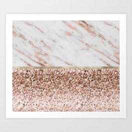Warm chromatic - rose gold marble Art Print