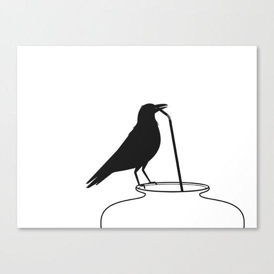 Thirsty crow Canvas Print