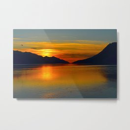 Alaskan Sunset Silhouette - Turnagain Arm Metal Print