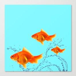 THREE GOLDFISH IN AQUA WATER ABSTRACT ART Canvas Print