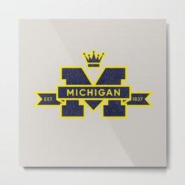 Michigan Block M Retro & Vintage Metal Print