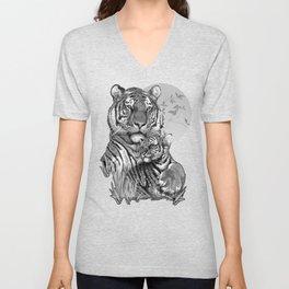 Tiger with Cub (B/W) Unisex V-Neck