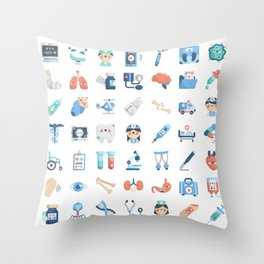 CUTE MEDICINE / SCIENCE / DOCTOR PATTERN Throw Pillow