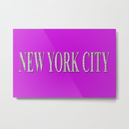 New York City (white type on pink) Metal Print