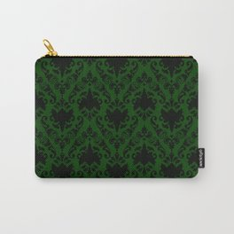 Forest Green and Black Damask Carry-All Pouch