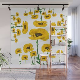 YELLOW POPPIES FLOWER ON WHITE Wall Mural