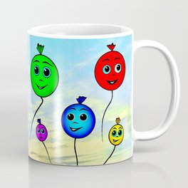 Happy colorful balloons flying in the sky Coffee Mug
