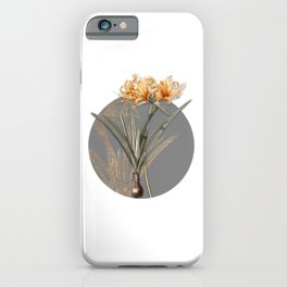 Vintage Golden Hurricane Lily Botanical Illustration on Circle iPhone Case