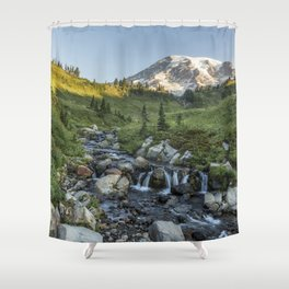 Early Morning Light on Mt Rainier above Edith Creek Shower Curtain