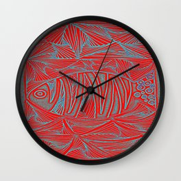 Fish in red Wall Clock