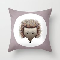 hedgehog Throw Pillows featuring hedgehog by ovisum