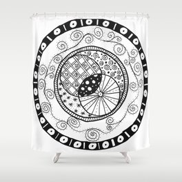 Circle Doodle Shower Curtain