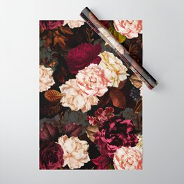 Vintage & Shabby Chic - Midnight Rose and Peony Garden Wrapping Paper