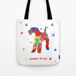 Airedale Terrier Watercolor Colorful Abstract Tote Bag