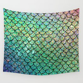Colorful Glitter Mermaid Scales II Wall Tapestry