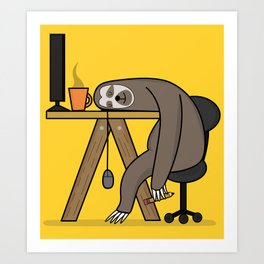 Office sloth Art Print