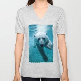 Polar Bear Swimming Unisex V-Neck