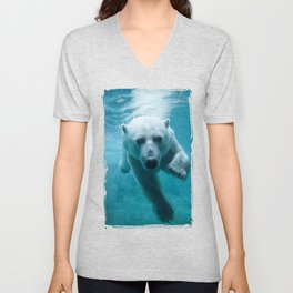 Polar Bear Swimming Unisex V-Neck