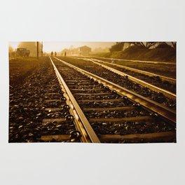 Railway Tracks at sunrise and twilight sky Rug