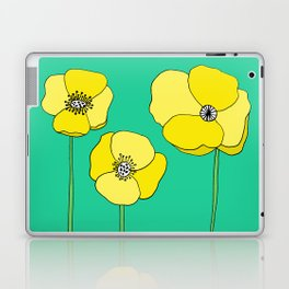 Bright Yellow and Mint Green Poppies Growing and Thriving Laptop & iPad Skin