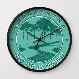 Copacabana beach, green circle, Rio de Janeiro, Brazil Wall Clock