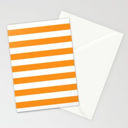 Sacral Orange and White Stripes Stationery Cards