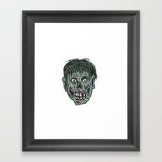 Zombie Skull Head Drawing Framed Art Print
