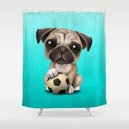 Cute Pug Puppy Dog With Football Soccer Ball Shower Curtain