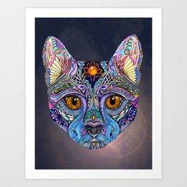 Mystic Psychedelic Cat Art Print