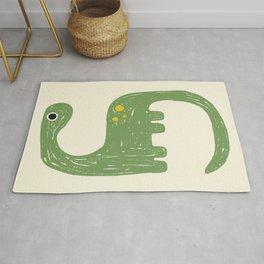 Cute Green Diplodocus Dinosaur Rug