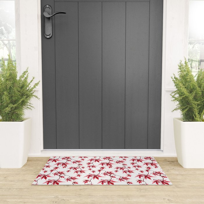 Watercolor Botanical Red Japanese Maple Leaves on Solid White Background Welcome Mat