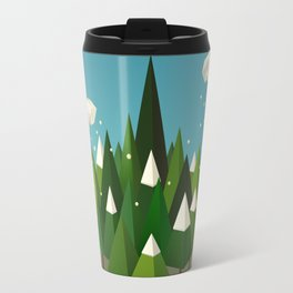Winter geometric landscape with pines and snow Travel Mug