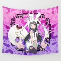 madoka Wall Tapestries featuring Akemi Homura in Kyubey's Dress by Neo Crystal Tokyo