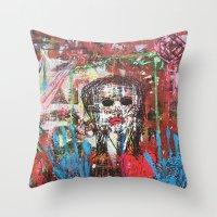 theatre Throw Pillows featuring Dark Theatre by Pluto00Art / Robin Brennan
