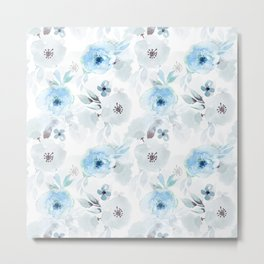 Blue Florals I Metal Print