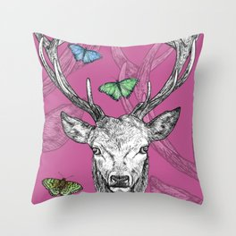 Scottish Stag, butterflies, pen and ink illustration, pretty pink Throw Pillow