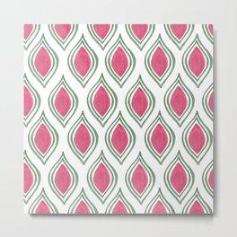 Pink green watercolor abstract motif modern pattern Metal Print