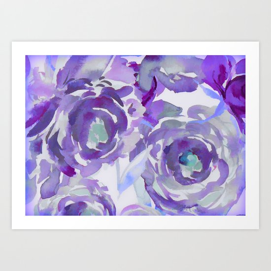 Purple Haze Painterly Floral Abstract Art Print