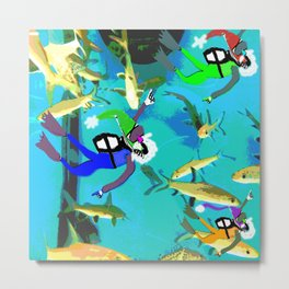 Shark Attack Christmas Metal Print