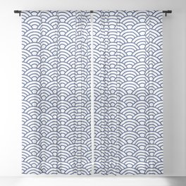 Japanese Blue Art Deco Waves Sheer Curtain