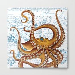 Brown Octopus Ancient Map White Metal Print
