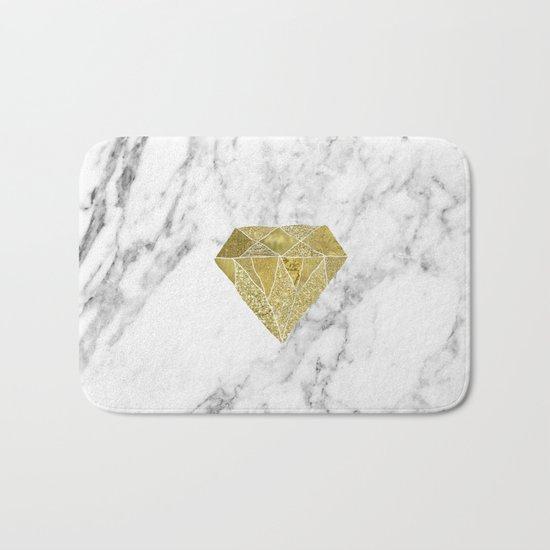 Gold diamond on marble Bath Mat