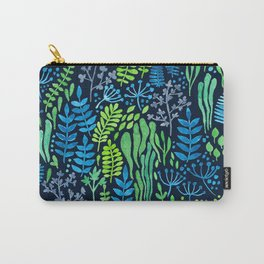 Watercolor floral doodles dark background Carry-All Pouch