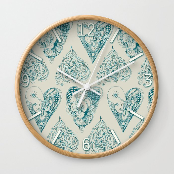Blue and beige tangled heart pattern Wall Clock