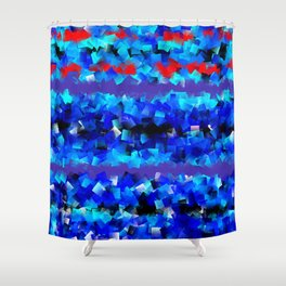 Blue lights and red birds Shower Curtain